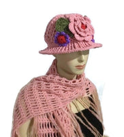 Cloche hat, crochet hat, handmade hat, women's hat, The pink cloche hat, pink acrylic yarn
