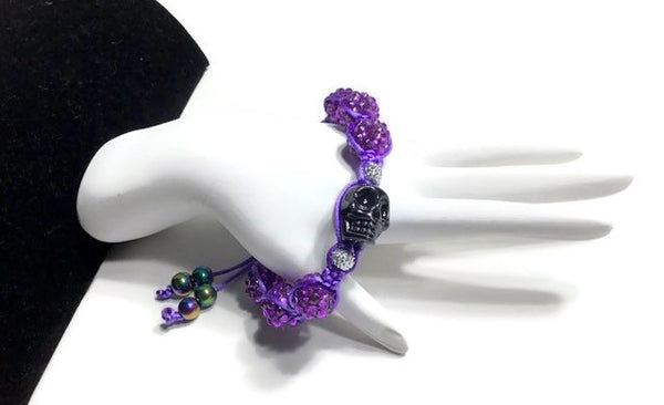 Purple shamballa beads, black skull bead, The halloween purple bracelet, macrame wrap, Halloween, purple nylon cord,