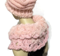 Shoulder warmer, fold over cowl, crochet cowl, faux fur, womans size, The Pink Cowl