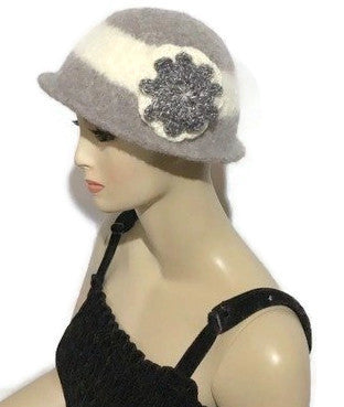 THE BELLA HAT, handmade women's  felted hat, Boho-chic style, light grey and cream hat, ready to ship