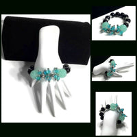 The green and black cluster stretch bracelet, holiday gift, for her, give handmade, woman's size.