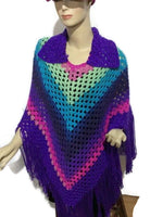 Collared crochet poncho, woman's size, purple acrylic yarn, autumn ware, handmade, The shades of purple poncho, andrea designs handmade ponchos, hippie style, gift for her