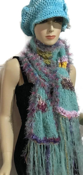 Hand knit scarf, luxury woman scarf, Peruvian alpaca fiber, The aqua cloud scarf