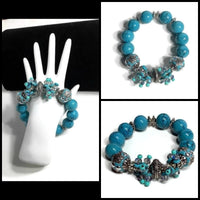 THE TURQUOISE ROSE CLUSTER STRETCH BRACELET, woman's size, turquoise color, holiday gift, give handmade,
