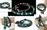 Green,  beaded double wrap,  leather macrame bracelet, The Leather Green Mosaic bracelet, handmade bracelet