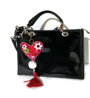 Heart handbag charm, handmade handbag decoration, key fob, key ring, The red heart handbag charm