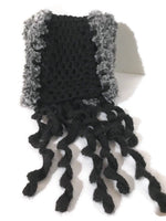 woman's scarf, handmade scarf, crochet scarf, winter scarf, black alpaca, andrea designs, the mink scarf,