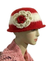 Ready to ship, womens wool hat, felted hat for women, The Andrea's hat, cloche hat, women size, red and cream hat,