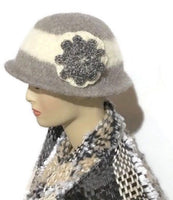 Ready to ship, handmade women's wool hat, felted hat for women, THE BELLA HAT,  Boho-chic style, women size, light grey and cream color hat, vintage looks,