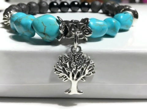 THE TURQUOISE TREE OF LIFE DIFFUSER BRACELET, turquoise and black bright agate stones, essential oil diffuser bracelet, stretch bracelet, woman's size
