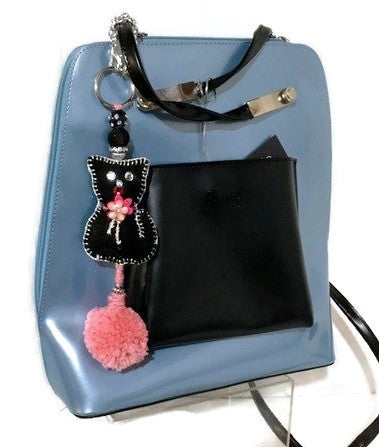 Cat handbag charm, keyring, handmade purse decoration, The black kitten handbag charm, purse embellishment