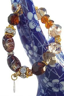 Beaded bracelet, rondelle crystal beads with rhinestones, boho chic, stretch bracelet, The amber bracelet, The Elaini Arthur bracelet collection