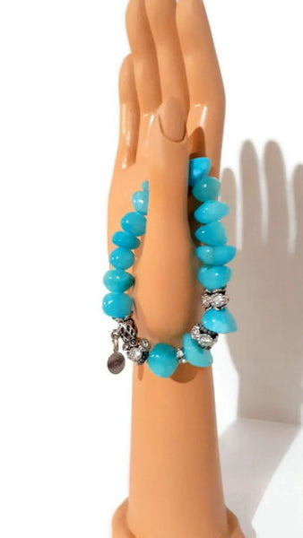 Sky blue stone polished beads, streatch bracelet, The sky bracelet, Elaini Arthur bracelet collection