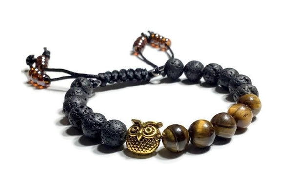 THE GOLDEN OWL DIFFUSER BRACELET, black lava rocks with brown tiger eye natural stones essential oil diffuser, macramê clasp, harmony and balance bracelet, memory wire,