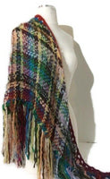 Handwoven shawl, tri-loom wrap, winter alpaca wear, fall scarf, The landscaping of flowers shawl, andrea designs handmade woven shawl, must have gift