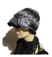 Gray, black, crochet hat, THE BLACK AND GRAY MOCKINGBIRD HAT, handmade beanie with visor brim, woman's size, ready to ship