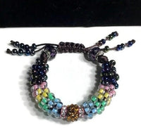 The multicolor flowers of the garden bracelet, handmade kumihimo wrislet, woman size, yellow,green,blue,pink,iris mix beads, macrame clasp,