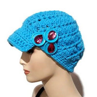 Newsboy crochet hat, handmade hat with a bill, embellished hat with buttons, cotton yarn, The royal blue hat