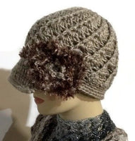 The beige crochet hat, handmade beanie with visor brim, acrylic yarn, woman size, ready to ship