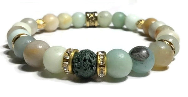 THE GREEN AMAZON RIVER DIFFUSER BRACELET, green lava rock bead with amazonite stones, stretch bracelet, woman's size, boho-chic style, gift for her