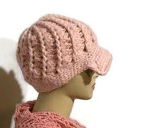 The pink crochet hat, pink alpaca yarn, beanie with bill, newsboy hat, woman size, cold weather, Andrea designs handmade hats,