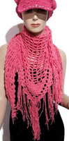 Handmade crochet pink cotton shawl, Peruvian pima cotton, boho chic style, woman size, The Pink summer shawl