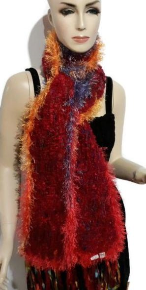 Knit scarf, red bloucle wool, handmade scarf, boho chic, The red boucle scarf, woman size, winter must to have