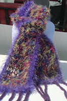 Fiber art scarf, knit handmade scarf, needle felted fringes, variegated colors,  The butterflies scarf