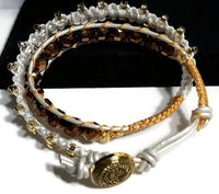 Double wrap beaded leather macrame bracelet, The golden bracelet, boho chic,