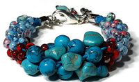 Chunky bracelet, blue beaded kumihimo bracelet, The blue sandal bracelet