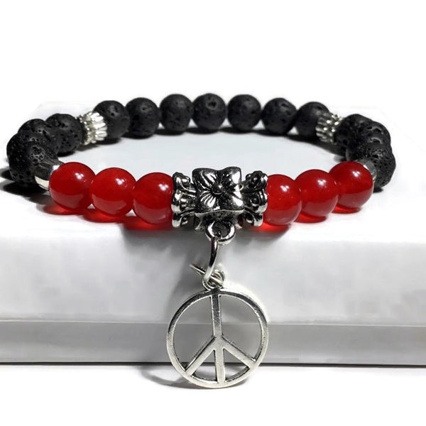 THE PEACE SIGN CHARM DIFFUSER BRACELET, black lava rock with red agate stones, essential oil diffuser, woman's size, Boho-chic style, Valentine's day gift,