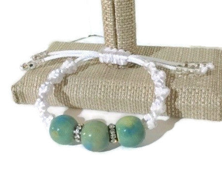 Boho chic adjustable green ceramic beads macrame bracelet, The Daisy Bracelet, handmade