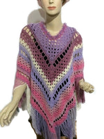 The pink lavander poncho, woman size, boho chic crochet cape, andrea designs handmade ponchos, fall wear, gift for her, small -medium size,