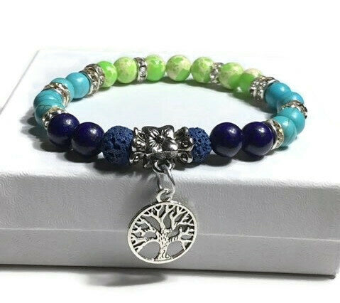 THE TREE OF LIFE DIFFUSER BRACELET, blue lava rock beads with turquoise, green, blue stones essential oil diffuser handmade bracelet, stretch bracelet, woman's size, for her