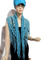Crochet Peruvian pima cotton shawl, handmade wrap, boho chic, The blue sea shawl