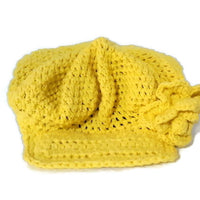 Crochet handmade hat, yellow cotton yarn, crochet beannie with bill, The sun hat