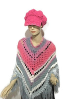 THE PINK AND GRAY ROSES PONCHO, crochet wrap, small- medium women size, andrea designs handmade ponchos, boho chic style, gift for her