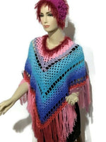 The pink and blue poncho, crocheted cape, andrea designs handmade ponchos, fall wear, woman size,