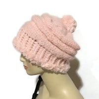 The Pink slouchy Hat, knit  beanie, pink alpaca, faux fur, woman's size, winter hat