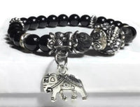 THE SILVER ELEPHANT DIFFUSER BRACELET, handmade stretch bracelet, black lava rock with black bright agate natural stones, essential oil diffuser bracelet, gift for her, woman's size
