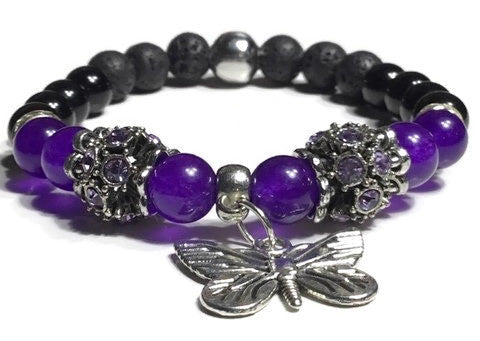 THE PURPLE BUTTERFLY DIFFUSER BRACELET, handmade stretch cord bracelet, black lava rocks with amethyst, black obsidian natural stones , essential oil diffuser bracelet.