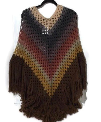 The shades of brown crochet poncho, handmade wrap, woman's size, hippie cape, andrea designs handmade ponchos, gift for her, fall wear