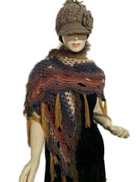 Shades of brown crochet shawl, boho chic style, fall wrap, andrea designs handmade shawls, gift for her, woman size
