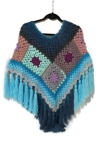 Not your granny poncho, granny squares crochet poncho, blue acrylic yarn, andrea designs handmade ponchos