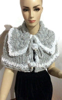 Shoulder's warmer, fold over cowl, knit cowl, woman's size, faux fur, acrylic, The silver gray cowl