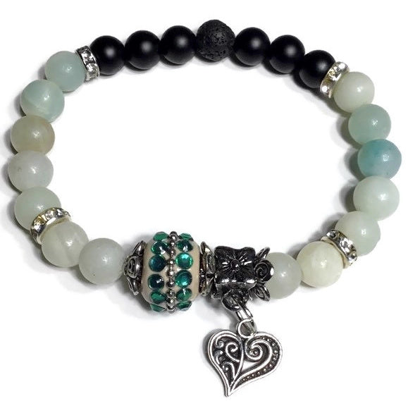 THE GREEN HEART DIFFUSER BRACELET, black lava rock bead with black matte agate and amazonite stones, stretch bracelet, woman's size, boho-chic style
