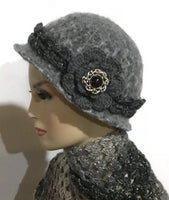 Ready to ship, womens wool hat, felted hat for women, The Silver Artemis hat, cloche hat, women size, vintage looks hat, dark gray marl,