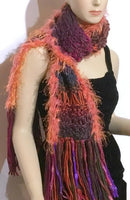 Knit scarf, fiber art scarf, handmade scarf, fine acrylic yarn, The apple garden scarf