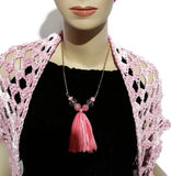 Pink glass beads with tassel,  metal bar necklace, The pink peony necklace