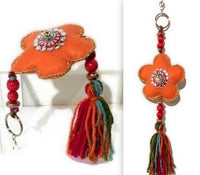 Flower keyring charm, key fob, zipper pull charm, handmade handbag decoration, The orange flower keyring-zipper pull charm